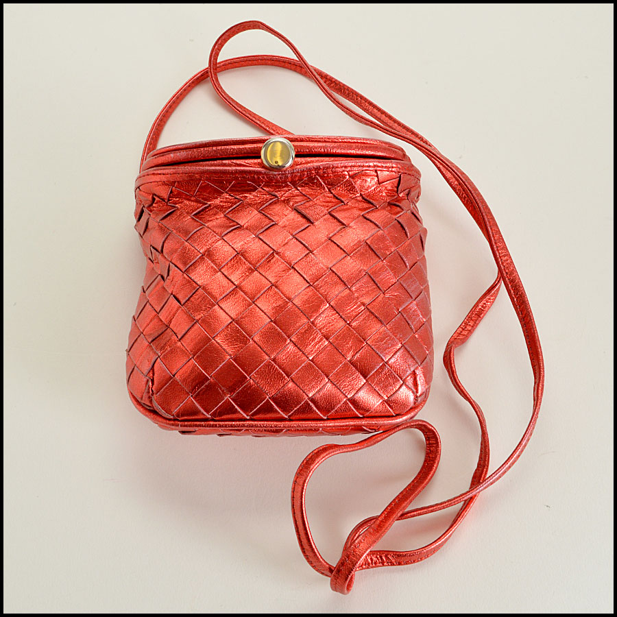 Bottega Veneta Red Metallic  Intrecciato Crossbody Bag Handbag
