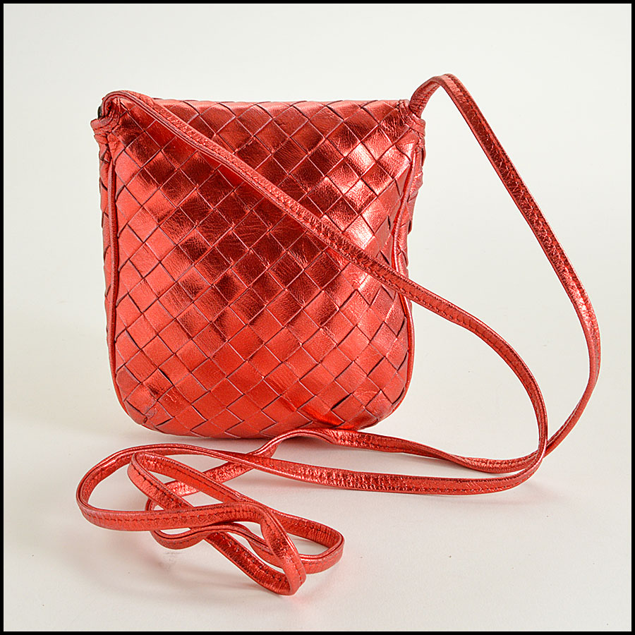 Bottega Veneta Red Metallic  Intrecciato Crossbody Bag Handbag Back