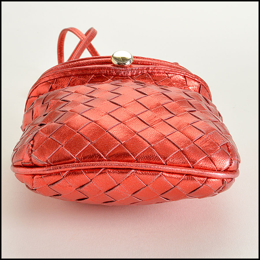 Bottega Veneta Red Metallic  Intrecciato Crossbody Bag Handbag Bottom