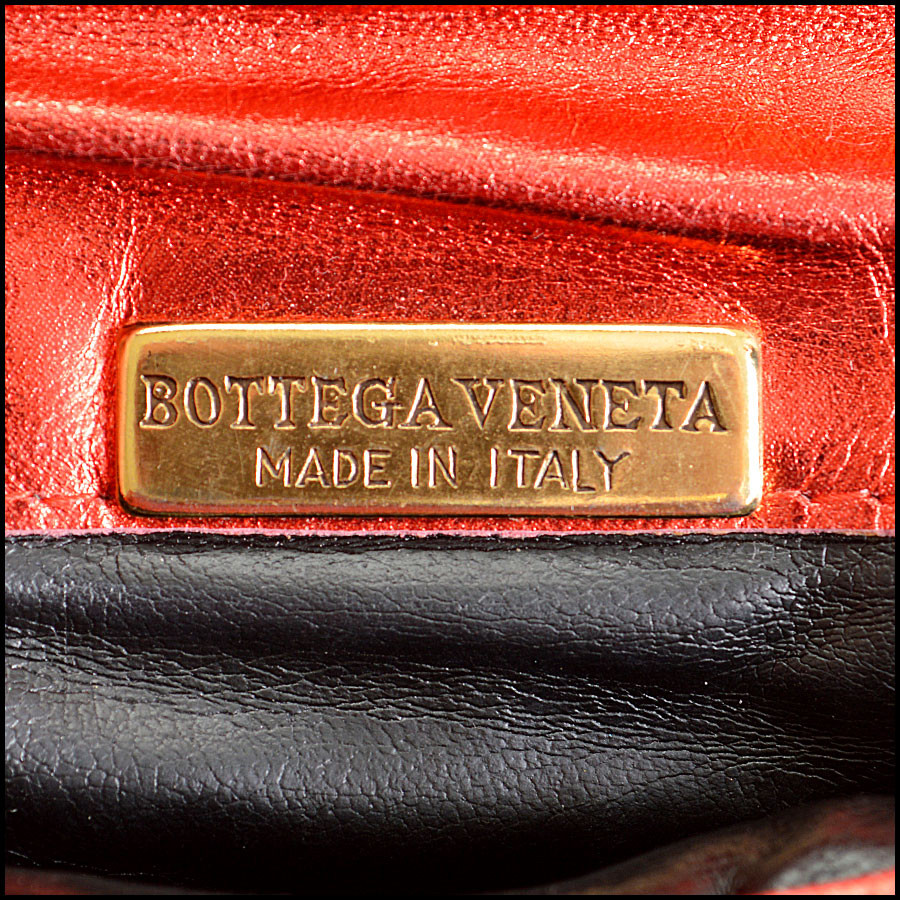 Bottega Veneta Red Metallic  Intrecciato Crossbody Bag Handbag Tag1