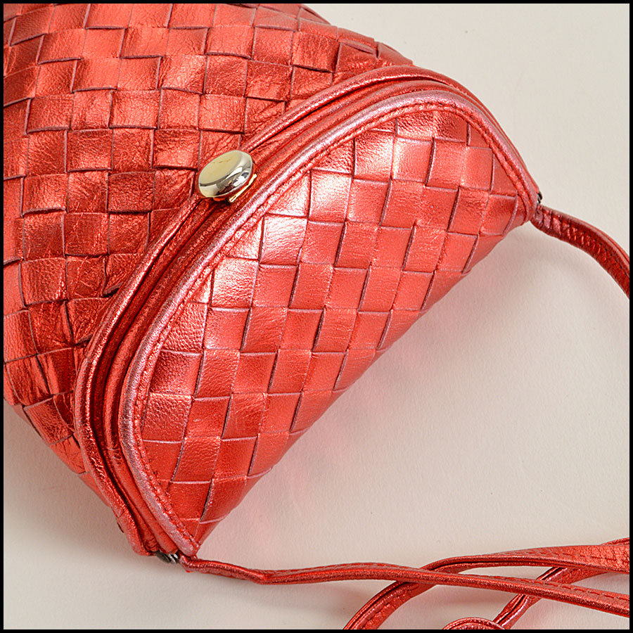 Bottega Veneta Red Metallic  Intrecciato Crossbody Bag Handbag Top