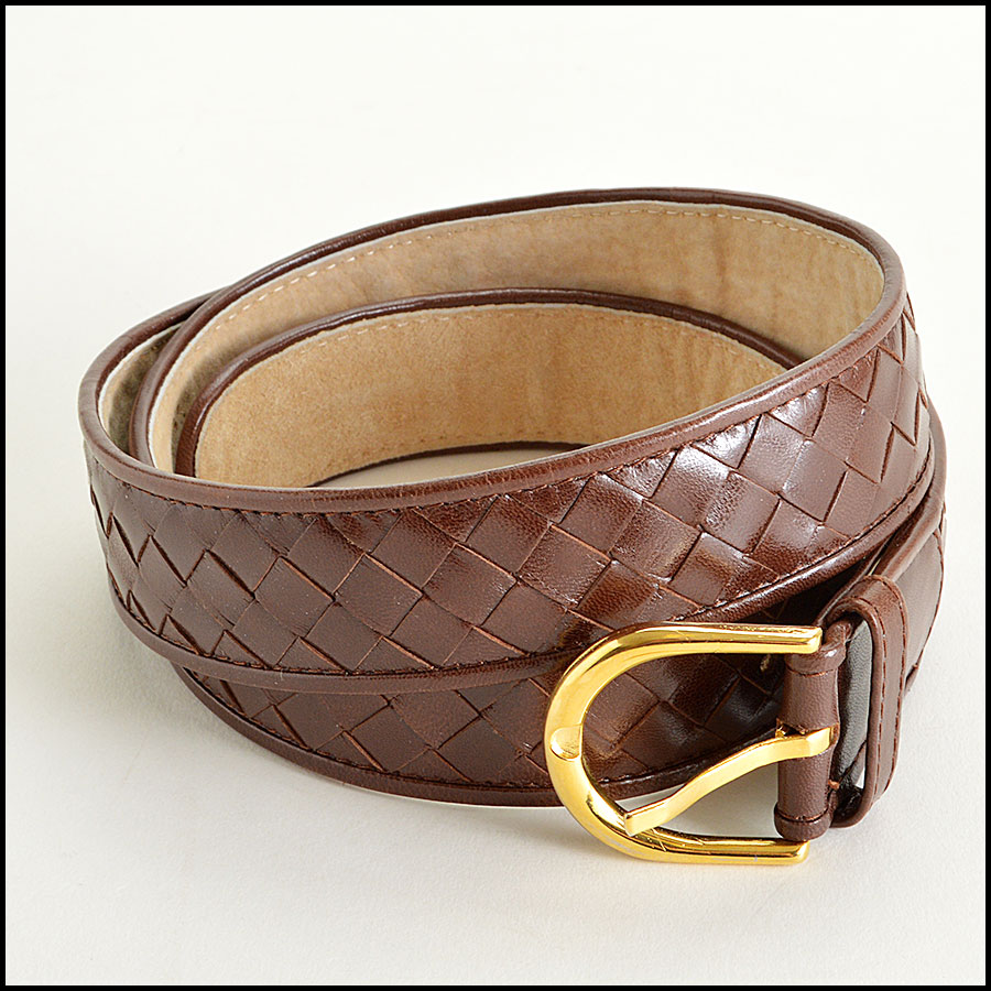 RDC7609 Bottega Veneta Brown woven belt