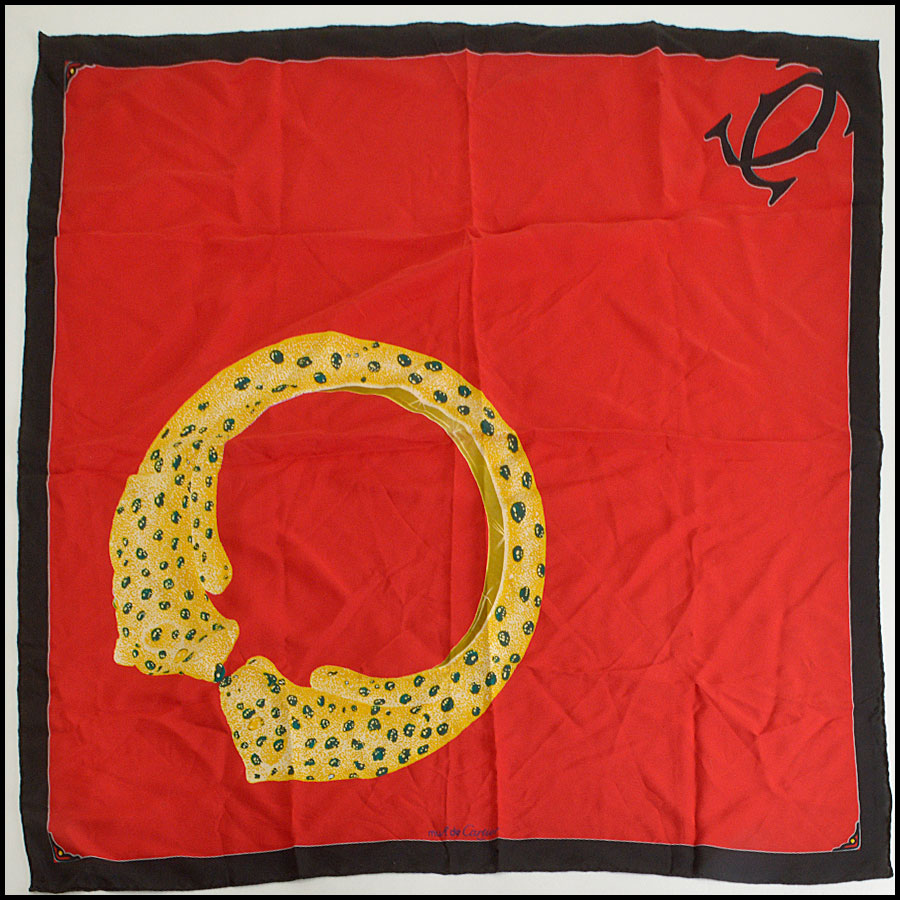 RDC8319 Cartier Red And Gold Must De Cartier Vintage Scarf