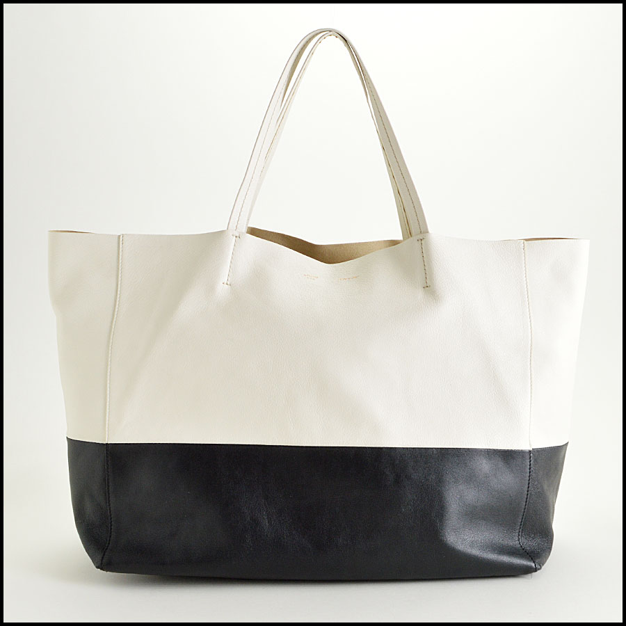 Celine Black and White Bi-Color Leather Horizotal Cabas Tote Bag
