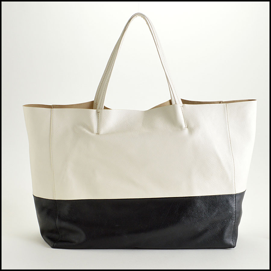 Celine Black and White Bi-Color Leather Horizotal Cabas Tote Bag Back