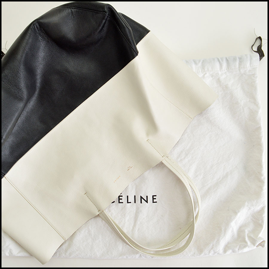Celine Black and White Bi-Color Leather Horizotal Cabas Tote Bag Extras