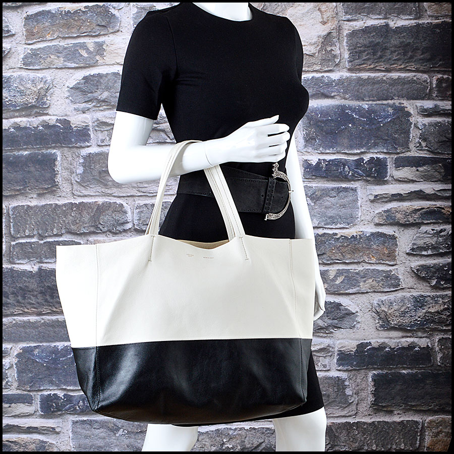 Celine Black and White Bi-Color Leather Horizotal Cabas Tote Bag Mannequin
