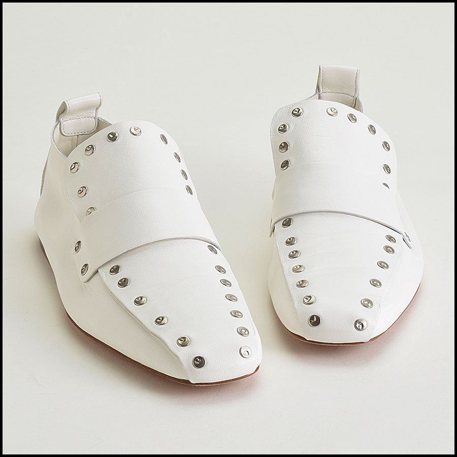 RDC9420 Celine White Leather Studded Loafers