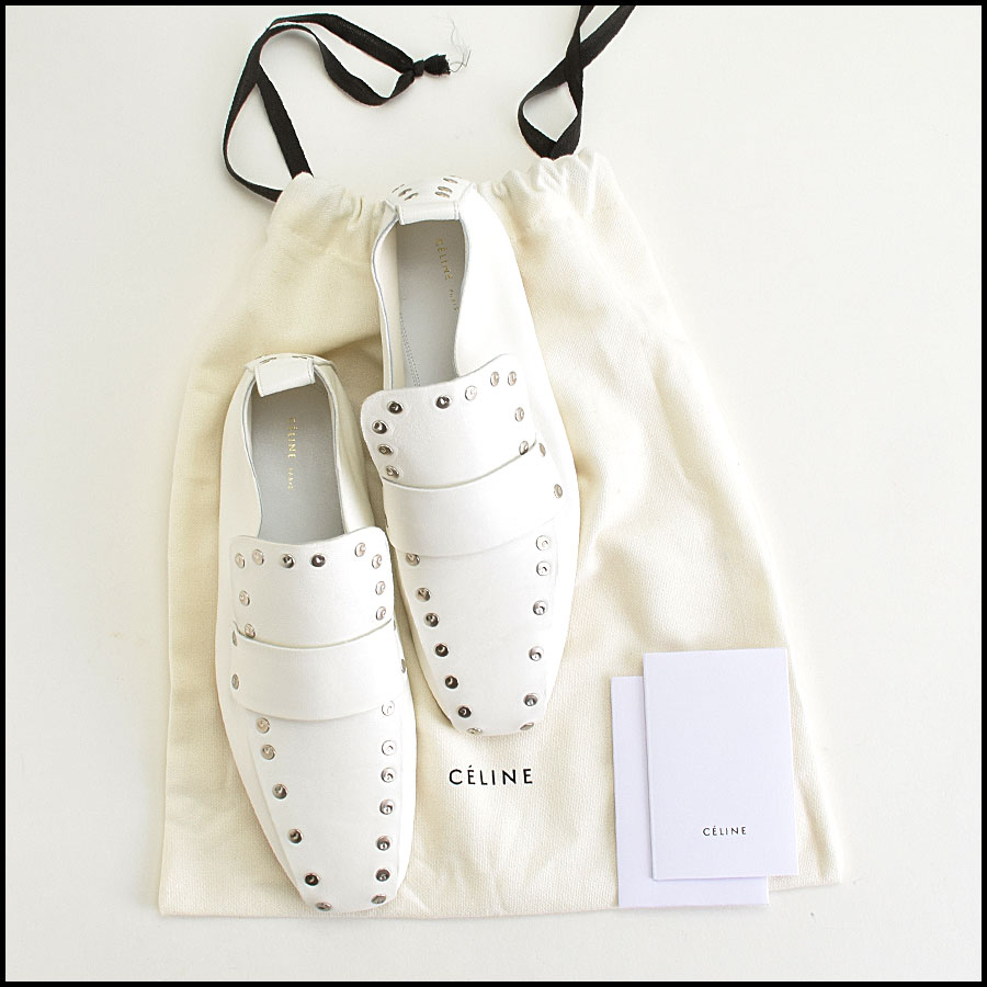 RDC9420 Celine White Leather Studded Loafers  includes