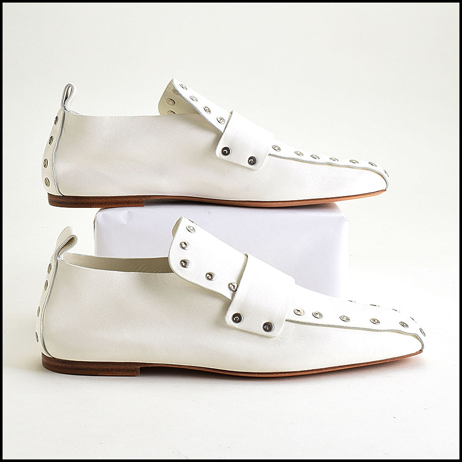 RDC9420 Celine White Leather Studded Loafers  side