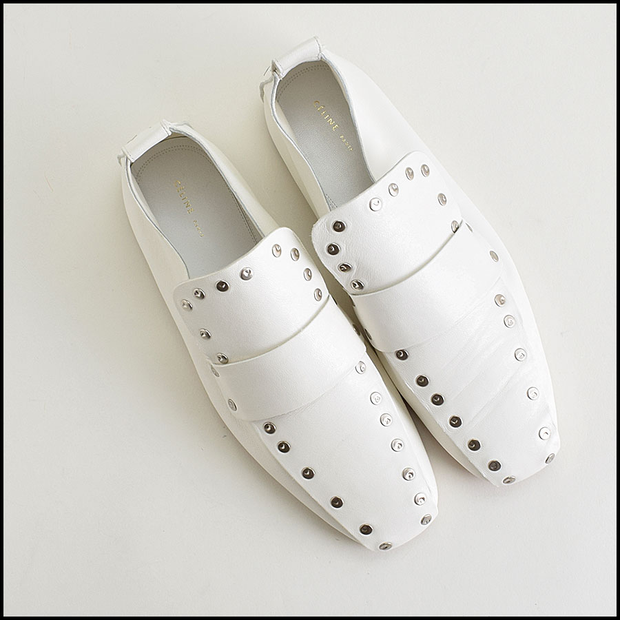 RDC9420 Celine White Leather Studded Loafers  top