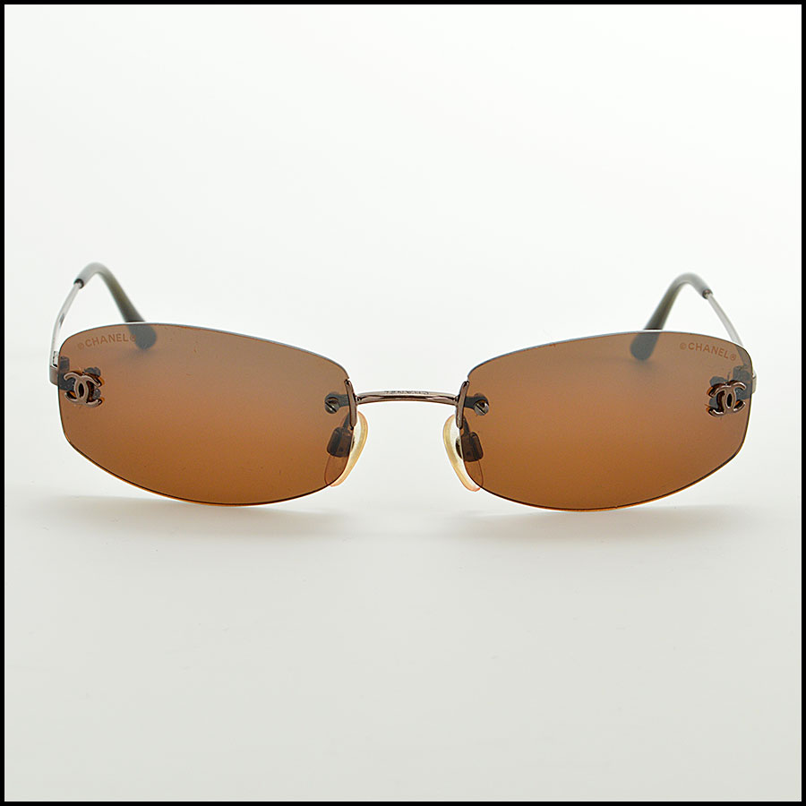 Chanel Brown Rimless Sunglasses