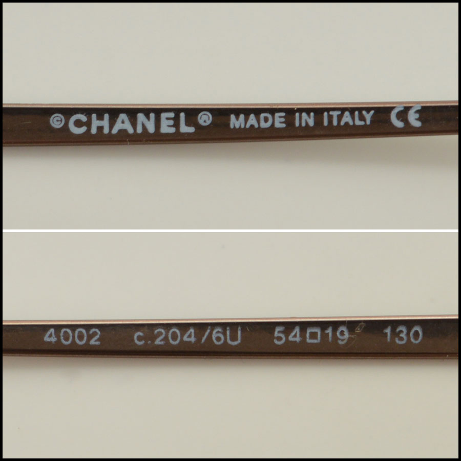Chanel Brown Rimless Sunglasses Tag