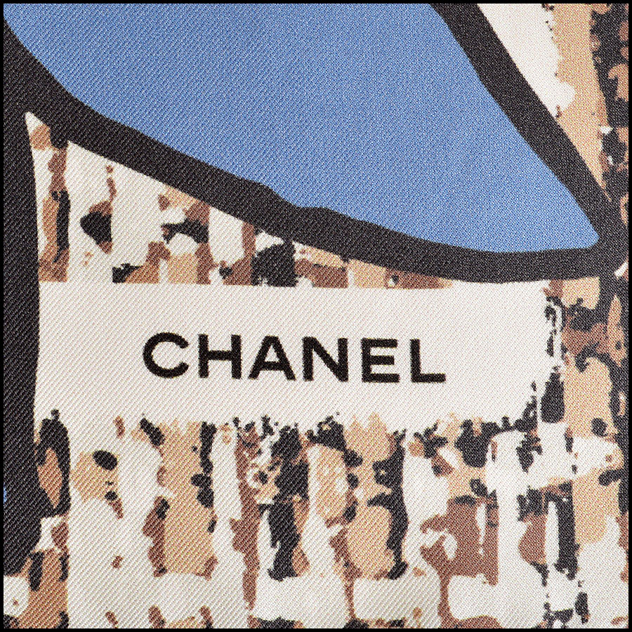 RDC7791 Chanel brown tweed scarf logo