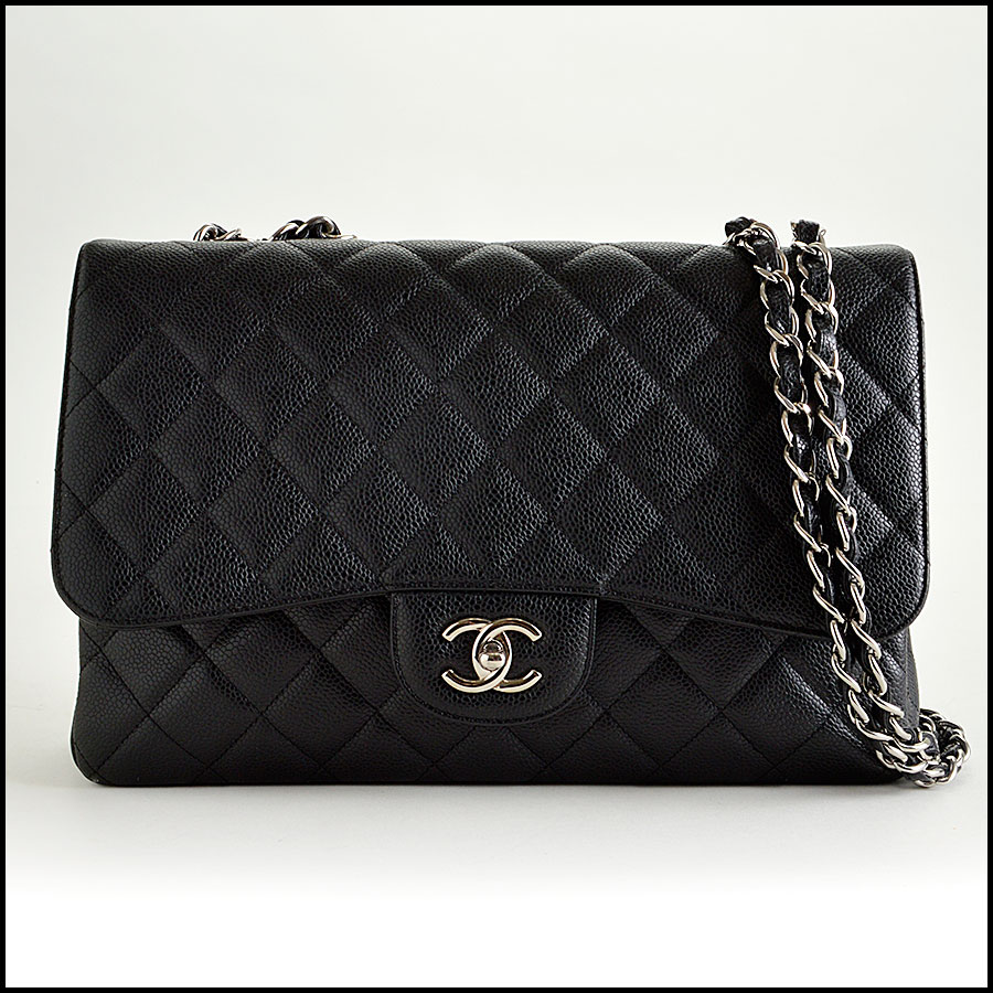 RDC7934 Chanel Black Caviar Jumbo Flap Bag