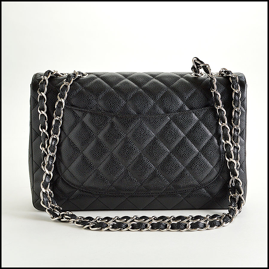 RDC7934 Chanel Black Caviar Jumbo Flap Bag back