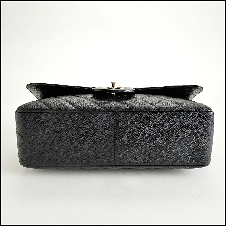 RDC7934 Chanel Black Caviar Jumbo Flap Bag bottom