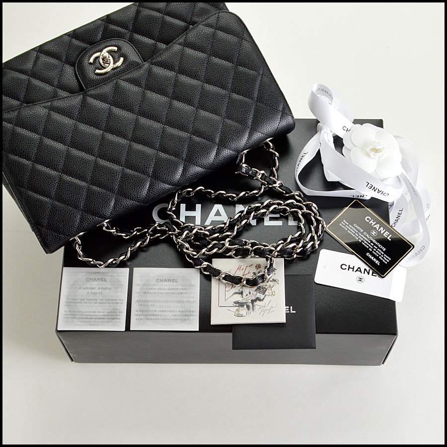RDC7934 Chanel Black Caviar Jumbo Flap Bag ext