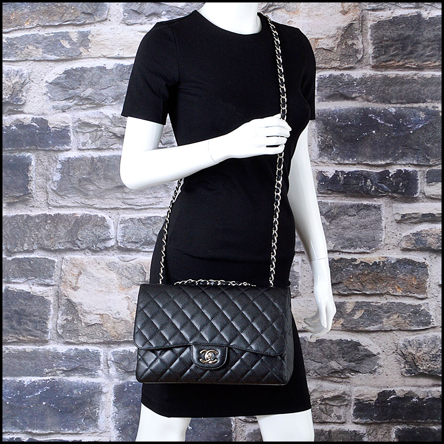 RDC7934 Chanel Black Caviar Jumbo Flap Bag model