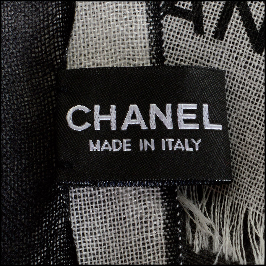 RDC8024 Chanel Cream and Black ombre scarf tag 2