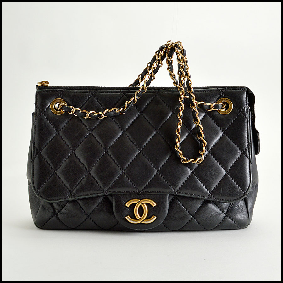 RDC8181 Chanel Black Quilted Blizzard Zip Top Tote