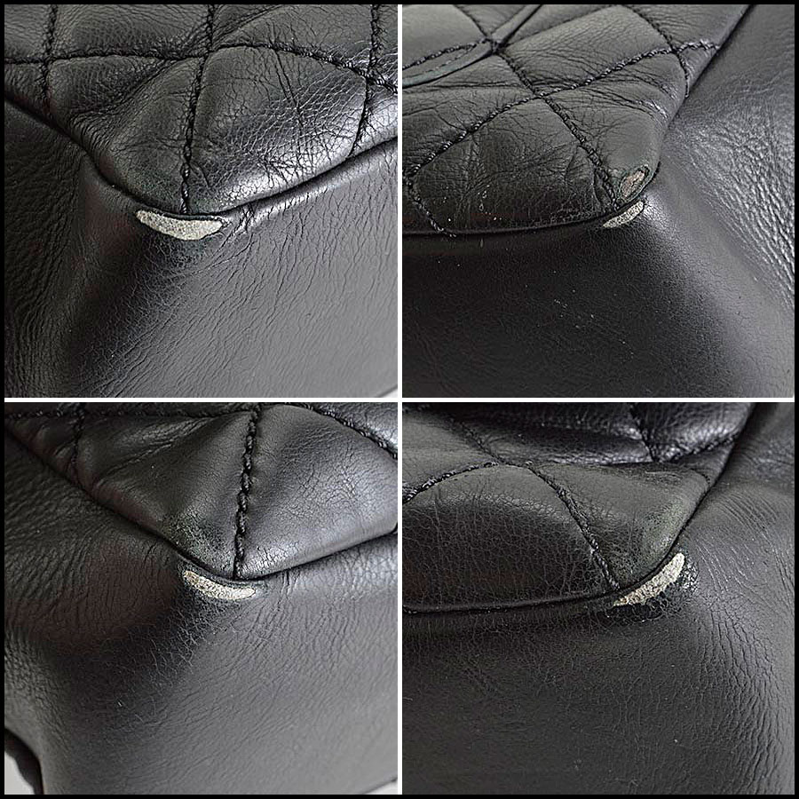 RDC8181 Chanel Black Quilted Blizzard Zip Top Tote corners