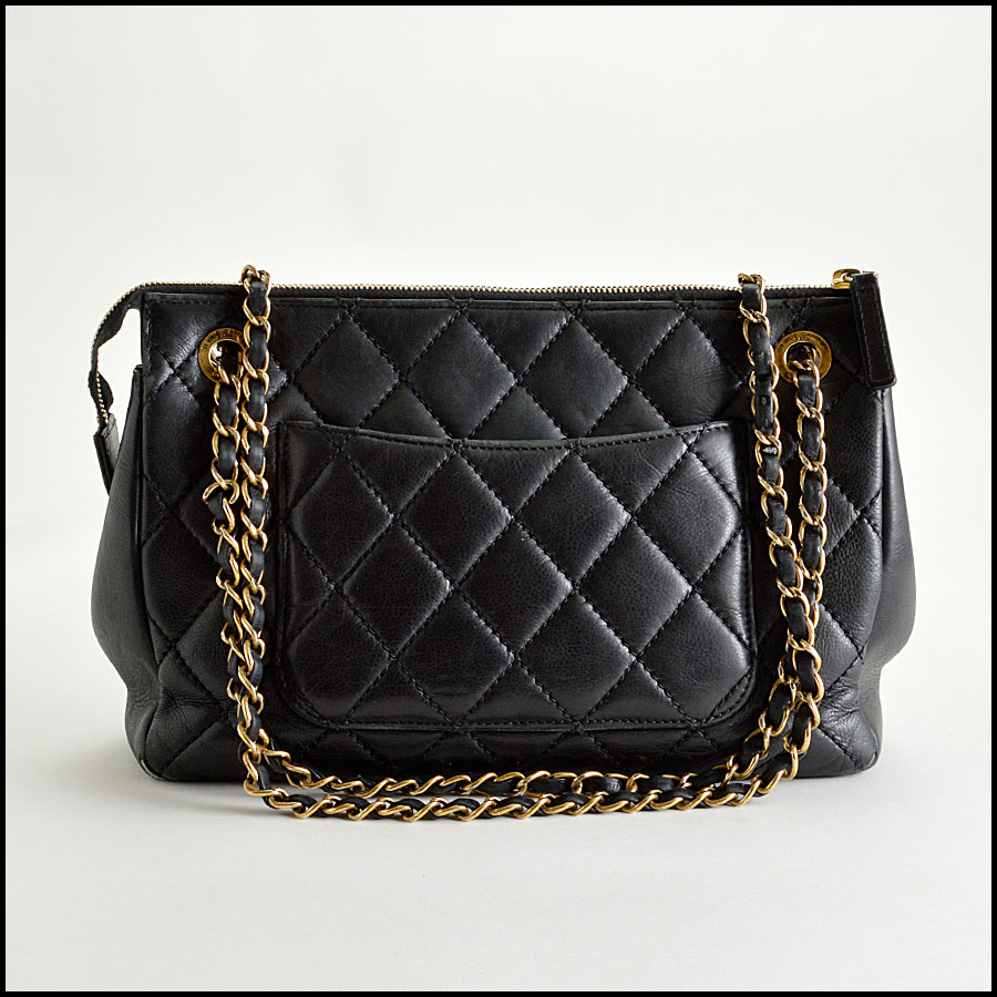 RDC8181 Chanel Black Quilted Blizzard Zip Top Tote back