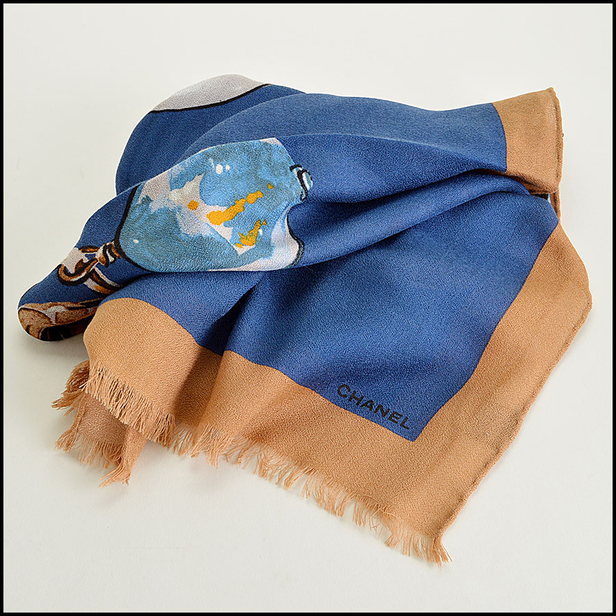 Chanel Tan and Blue Bauble Long Scarf Authentic fold