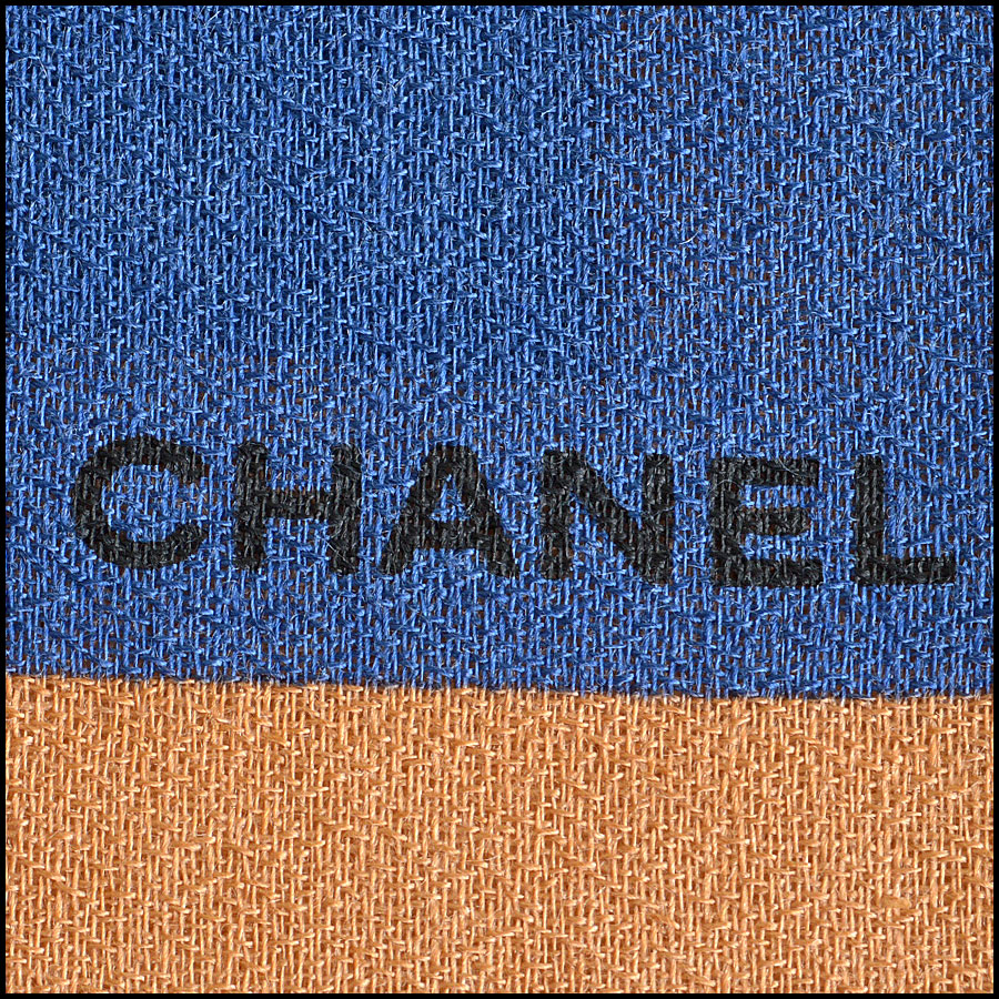 Chanel Tan and Blue Bauble Long Scarf logo detail
