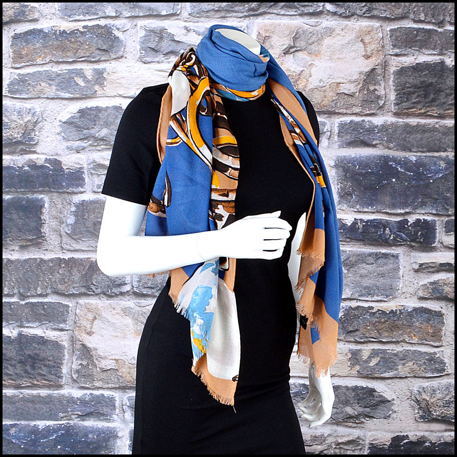 Chanel Tan and Blue Bauble Long Scarf Authentic Mannequin