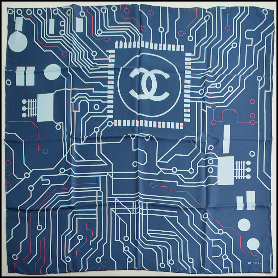 RDC8745 Chanel Blue Computer Chip Scarf