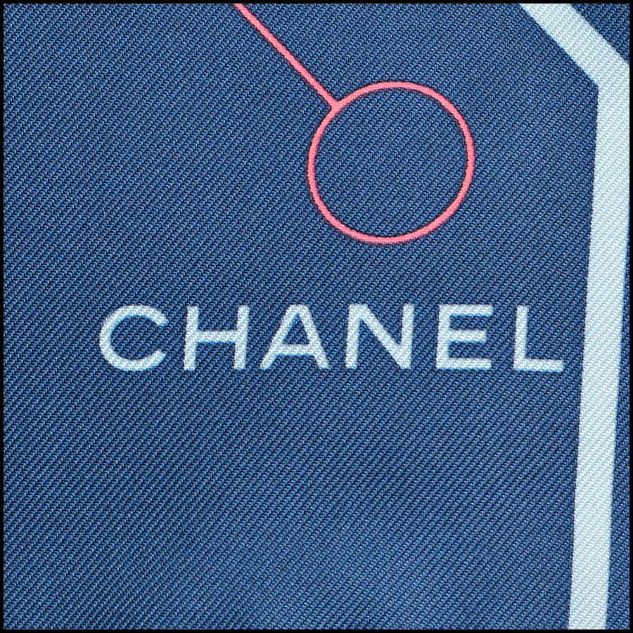 RDC8745 Chanel Blue Computer Chip Scarf tag 3