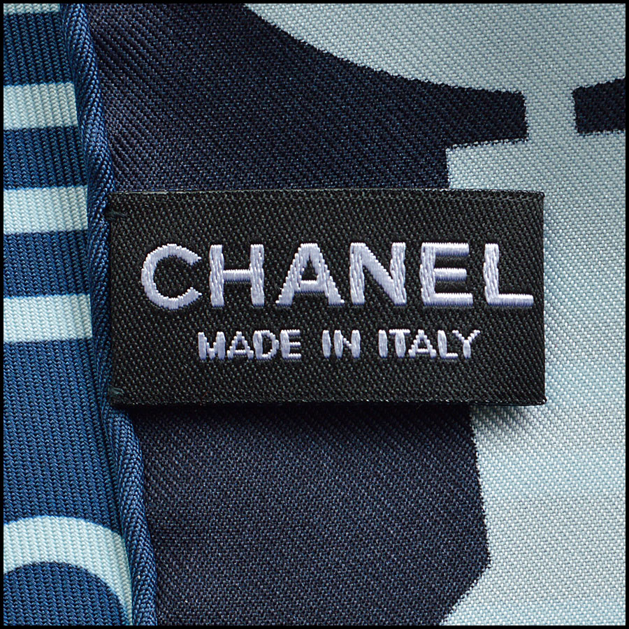 RDC8745 Chanel Blue Computer Chip Scarf tag 2