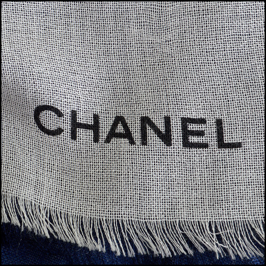 RDC8023 Chanel Cream and Blue ombre scarf logo