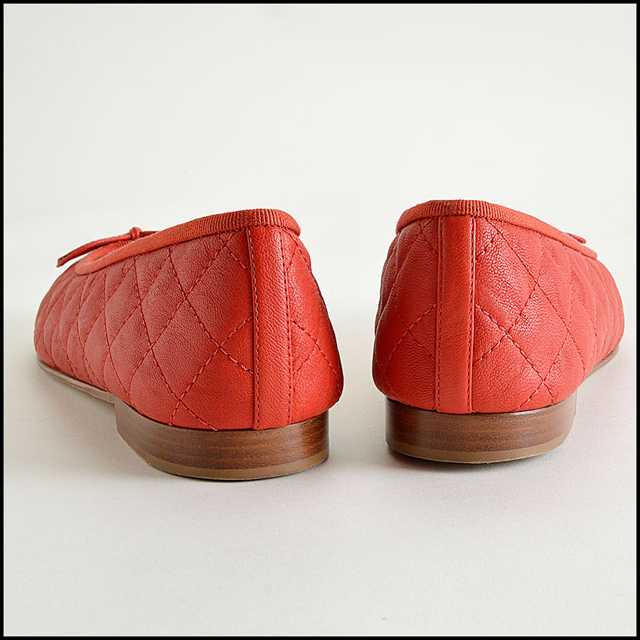 RDC8182 Chanel Red Quilted Round Toe Double C's and Bow flats