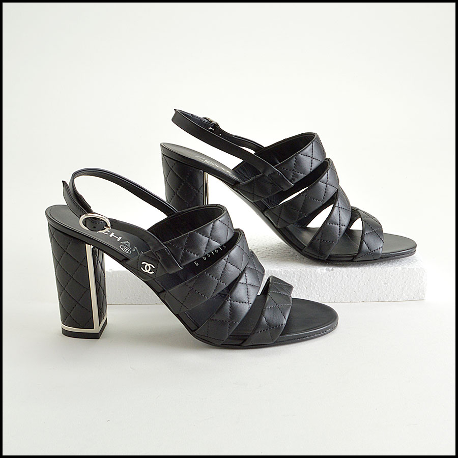 RDC8434 Chanel Black Quilted Cage Heels side