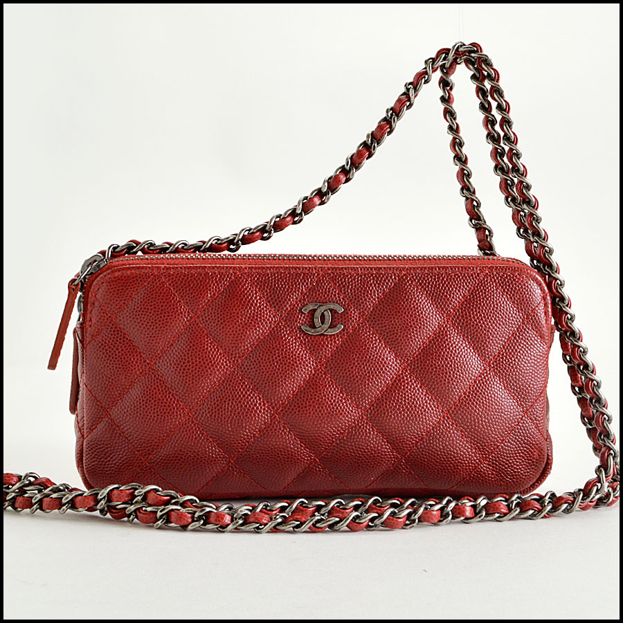 RDC8166 Chanel Rouge Caviar Leather Small clutch with strap