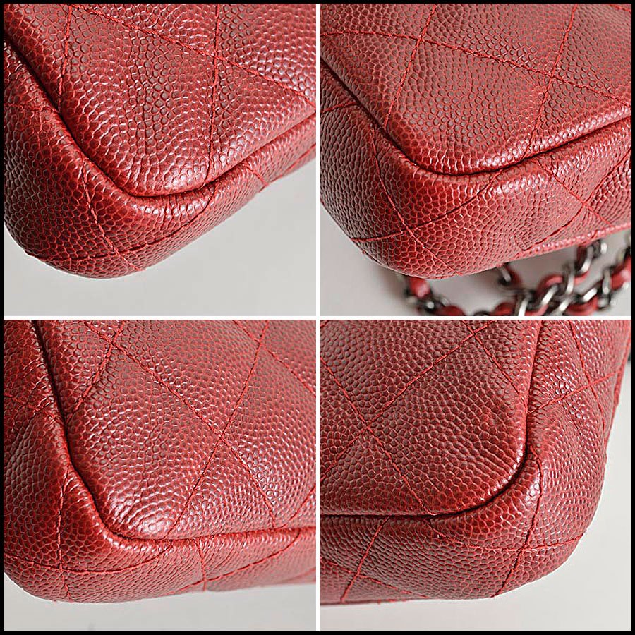 RDC8166 Chanel Rouge Caviar Leather Small clutch with strap corners