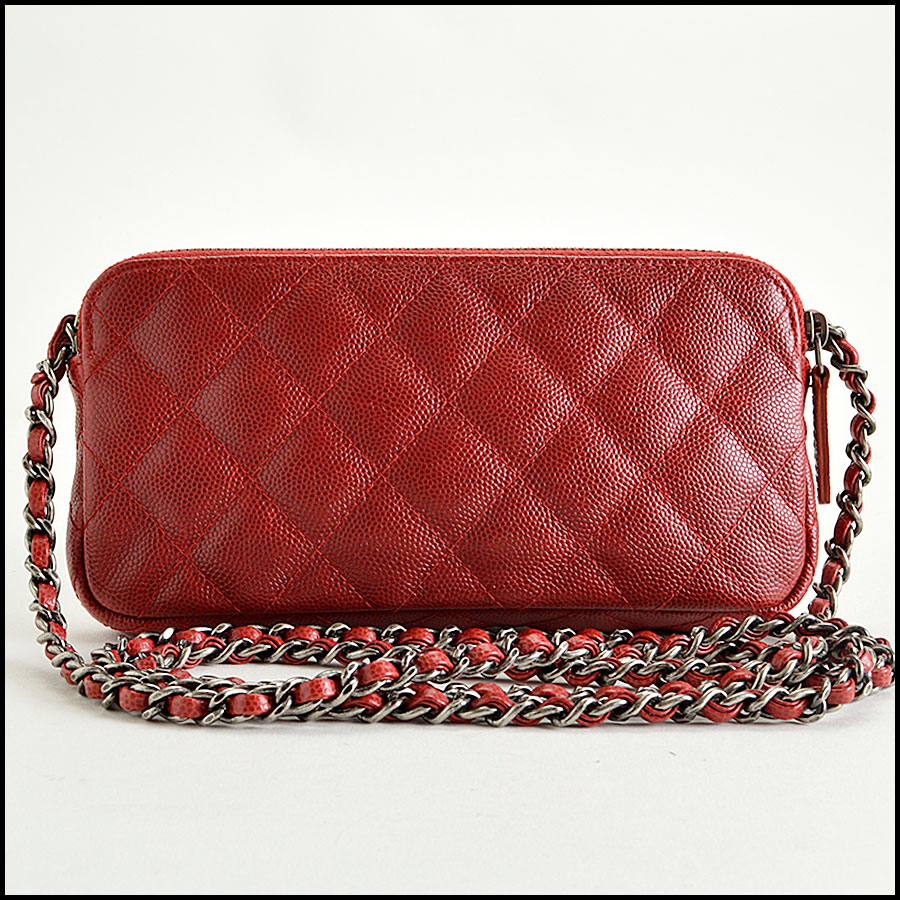 RDC8166 Chanel Rouge Caviar Leather Small clutch with strap back