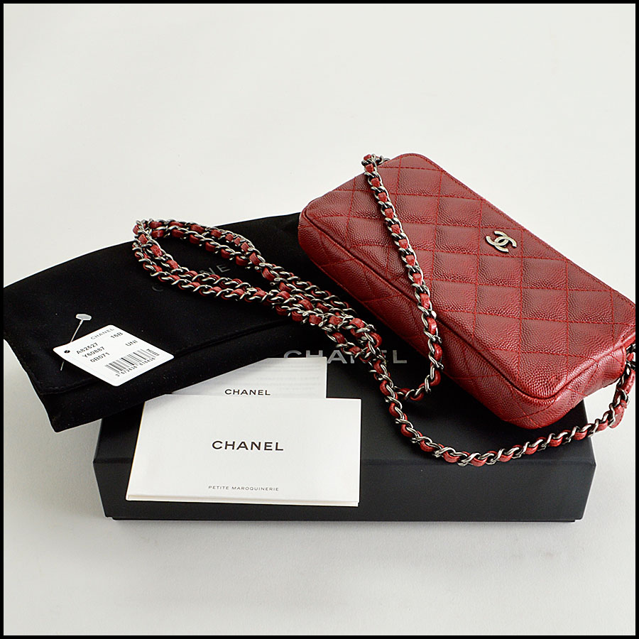 RDC8166 Chanel Rouge Caviar Leather Small clutch with strap extras
