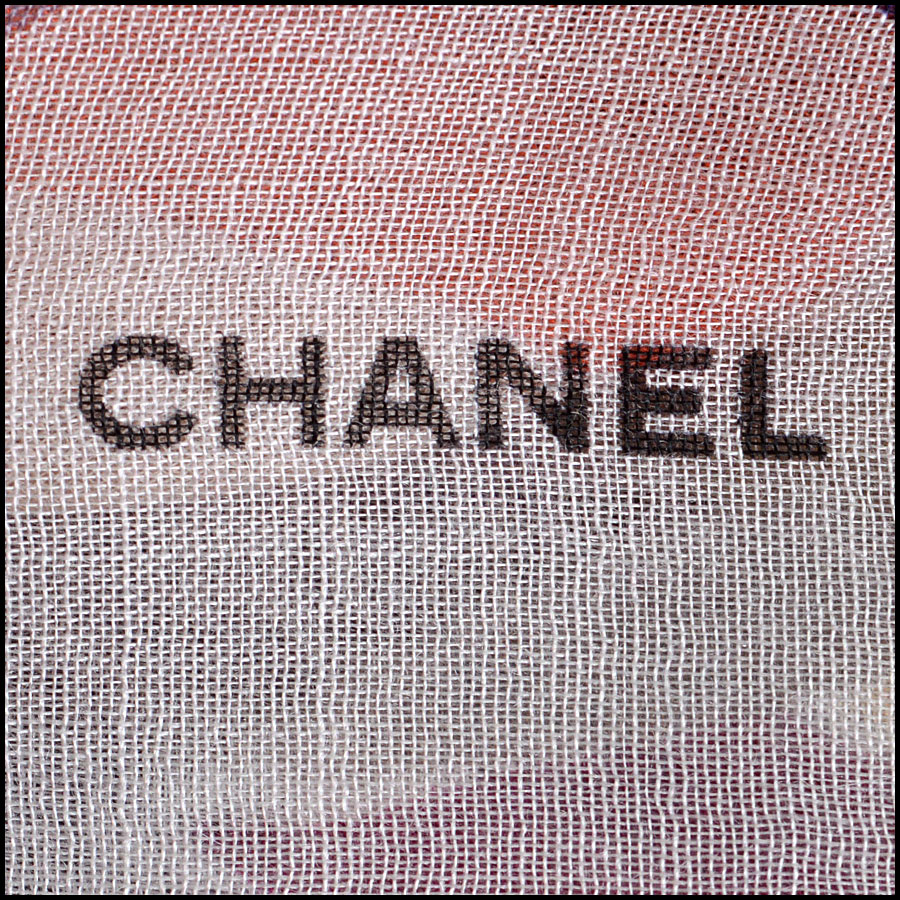 Chanel Multicolor GM Shawl Scarf Authentic Logo close up