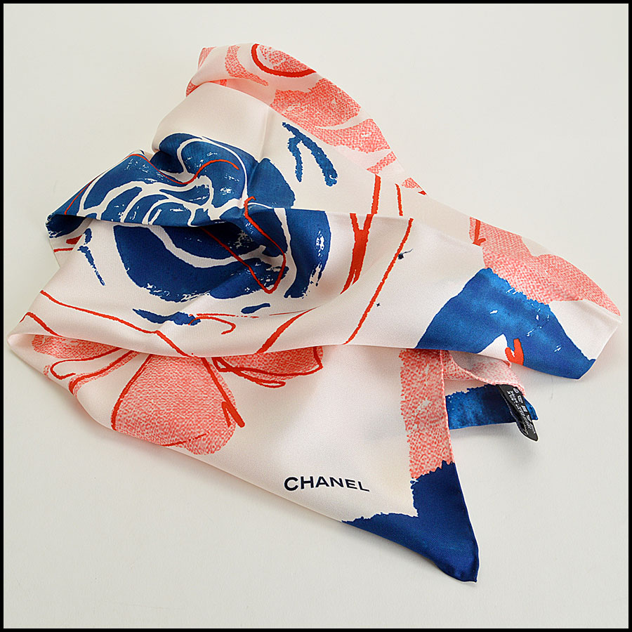 Chanel Floral Silk Scarf Authentic
