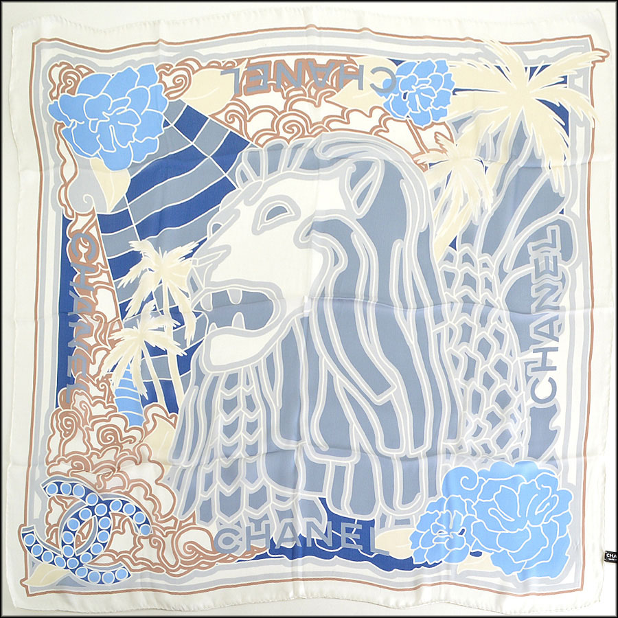 Chanel Lion Silk Chiffon Scarf Authentic