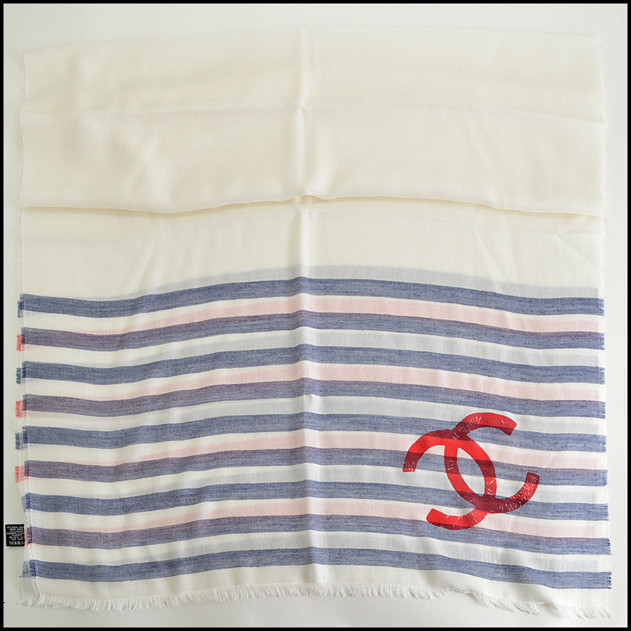 RDC8014 Chanel Blue and cream stamp logo scarf