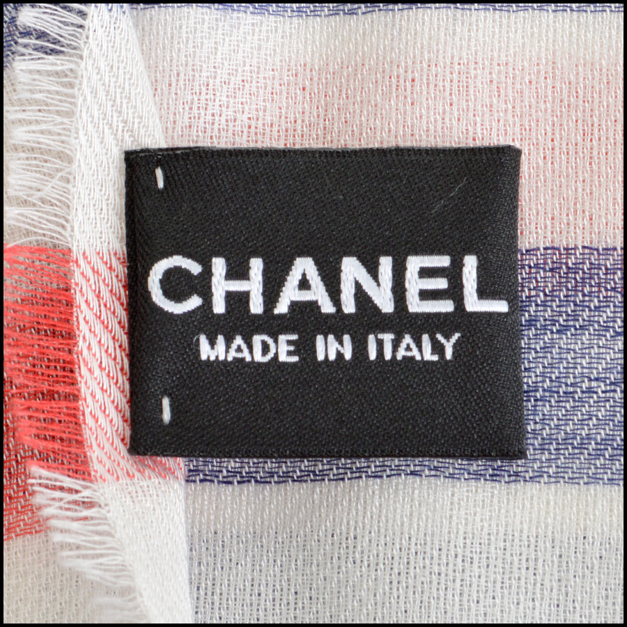 RDC8014 Chanel Blue and cream stamp logo scarf tag 1