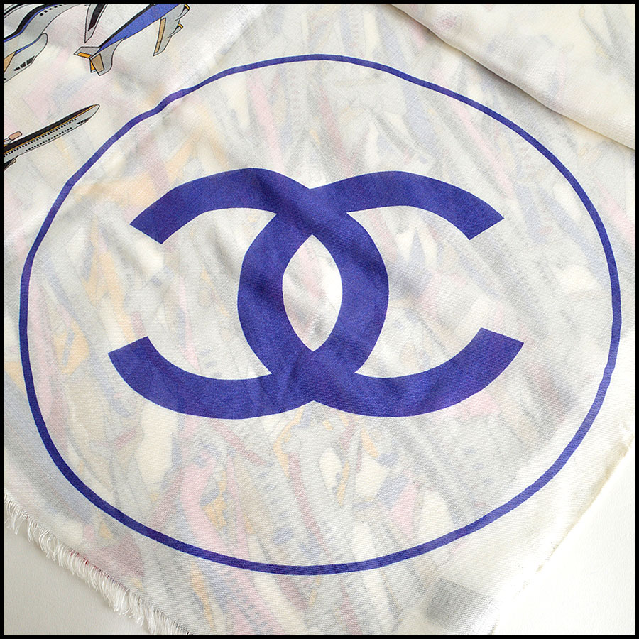 RDC8009 Chanel Airlines Airplanes Long Scarf Care Tag