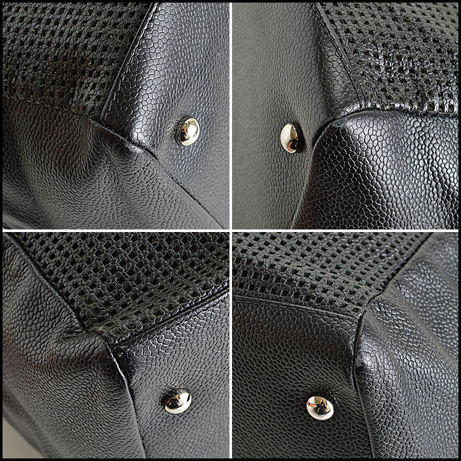 RDC8105 Black Cruise Collection Caviar perforated leather Bowler bag corners