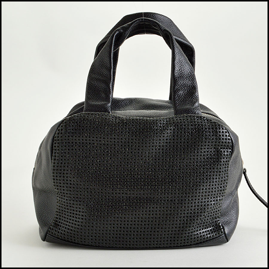 RDC8105 Black Cruise Collection Caviar perforated leather Bowler bag backs 1