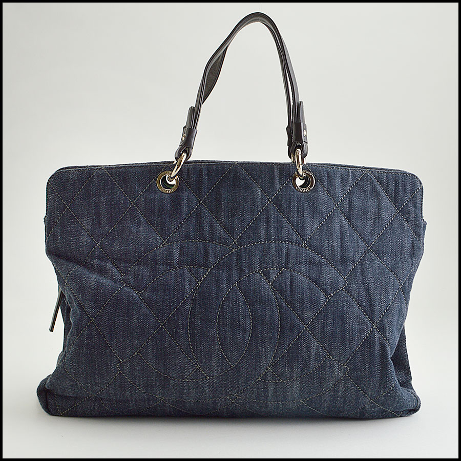 RDC8475 Chanel Denim Quilted Grand Shopping Tote
