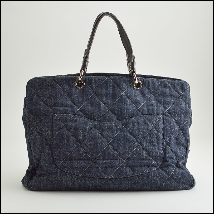 RDC8475 Chanel Denim Quilted Grand Shopping Tote back